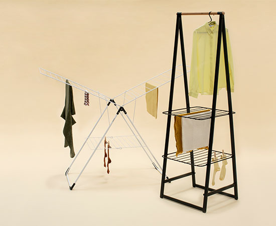 Brabantia drying racks in a light design. Available in black and white.