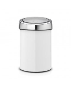 Touch Bin 3 litre - White with Brilliant Steel Lid