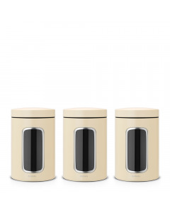 Window Canister, Set of 3, 1.4L - Almond