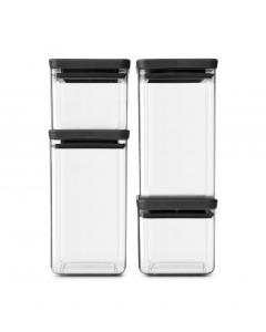 Tasty+ Square Canister Set of 4 - Dark Grey Lid