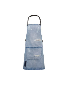 BBQ Style Apron Distressed Denim - Washed Indigo