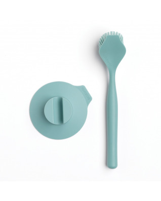 Dish Brush with Suction Cup Holder - Mint