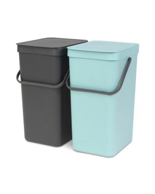Built-In Sort & Go Waste Bin 2 x 16 litre - Mint and Grey