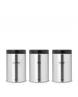 Canister, Set of 3, Tea/Coffee/Sugar, 1.4L - Fingerprint Proof Matt Steel