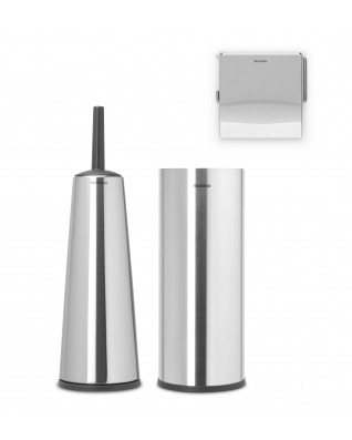 Toilet Accessory Set of 3 - Matt Steel