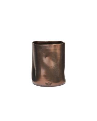 Utensil Holder Dented Crock Ceramic - Platinum Matt