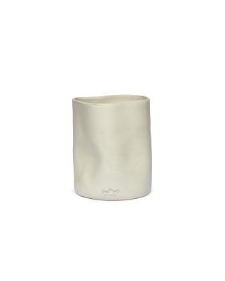 Utensil Holder Dented Crock Ceramic - White