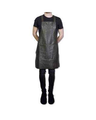 Suspender Apron Vintage Leather - Grey