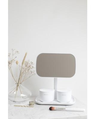 Mirror with Storage Tray - White