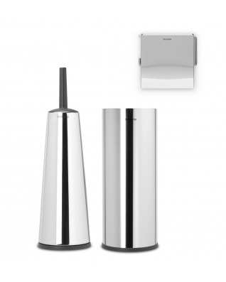 Toilet Accessory Set of 3 - Brilliant Steel