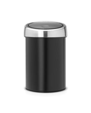 Touch Bin 3 litre - Matt Black with Matt Steel Lid