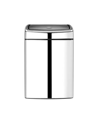 Touch Bin Rectangular 10 litre - Brilliant Steel