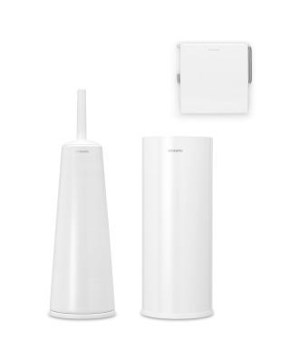 Toilet Accessory Set of 3 - White