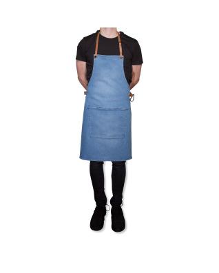 BBQ Style Apron Denim - Washed Indigo