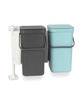 Built-In Sort & Go Waste Bin 2 x 12 litre - Mint and Grey